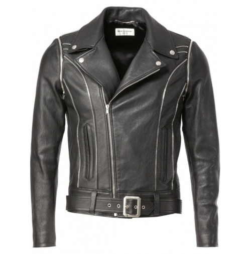 YSL BLACK CLASSIC OFF CENTRE LEATHER JACKET - NEW1-500x505