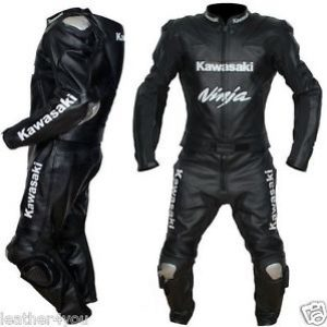 Kawasaki Ninja Full Black Motorbike Leather Suit Motorcycle Racing Custom Made