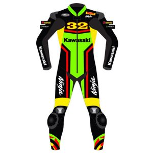 Kawasaki Ninja  Motorbike Leather Suit Motorcycle Racing Custom Made