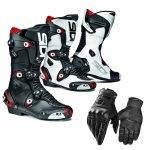 Motorbike leather Boot & Gloves